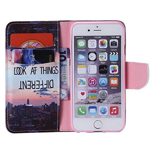 """iPhone 6 / iPhone 6S (4.7"""") Coque , Apple iPhone 6 / iPhone 6S (4.7-inch) Coque Lifetrut® [ Bâtiment de réflexion ] Luxe Premium Portefeuille Flip mignon Coque TPU souple Folio en cuir PU intégré dans"""