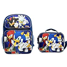 "NEW! Sonic The Hedgehog Large 16"" Backpack School Book Bag with Lunch Box"