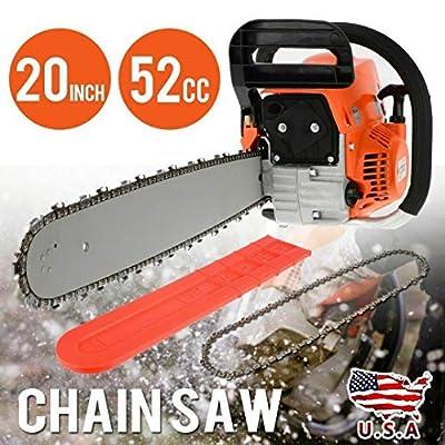 "Morocca New 1 Set 20"" Bar Gasoline Chainsaw Chain Saw 52cc Engine w/Aluminum Crankcase"