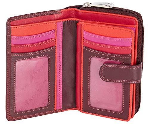 Visconti Bifold Leder Damen Geldbörse Colorado Combination Leather Mehrfarbig Purse (CD-22) RFID (Pflaumefarben (Plum))