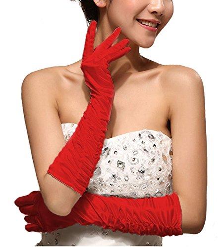 Women Bridal Shiny Stretch Satin Dress Gloves Special Occasion Party Gloves (Satin Silk Gloves)