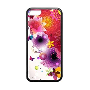 Dreamy Colorful Butterfly And Flower Black Phone Case for Iphone 5C