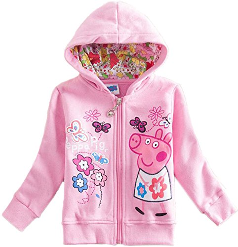 Yuting Girls Peppa Fall Full-zip Fleece Jacket Hooded Long Sleeve Outfit (5t, Pink)