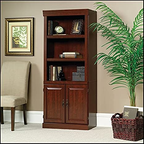 Cherry Bookshelf Wooden 71 Bookcase With Doors Library Shelf Furniture Adjustable Book Shelves Tall 3 Wood Shelving Storage Cabinet Case Unit