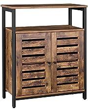 VASAGLE ladenkast Kast, dressoir, keukenkastje met plank en lamellendeuren, multifunctioneel, woonkamer, slaapkamer, hal, industrieel ontwerp, vintage, donkerbruin LSC76BX