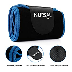 NURSAL Waist Trimmer for Weight Loss Workout Sweat Enhancer Exercise Adjustable Wrap and Waist Trainer for Stomach Adjustable Abdominal Muscle & Back Lumbar Support Ab Belt for Man and Women (M)