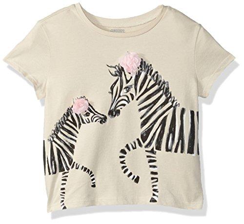 Gymboree Baby Girls Short Sleeve Crop Tee, Ivory Zebra Rosette, 3T
