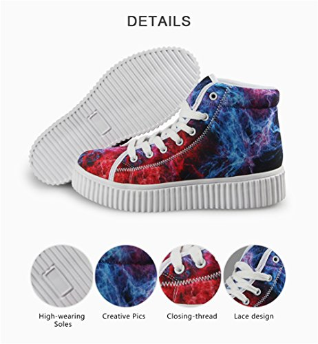Fashion Mixed Colorful Sneakers Shoes 11 Galaxy Women Platform Color HUGSIDEA Bwdq6Tw