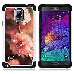"""Samsung Galaxy Note 4 IV / SM-N910 - 3 en 1 impreso colorido de Altas Prestaciones PC Funda chaqueta Negro cubierta gel silicona suave (Flor Rosa"""")"""