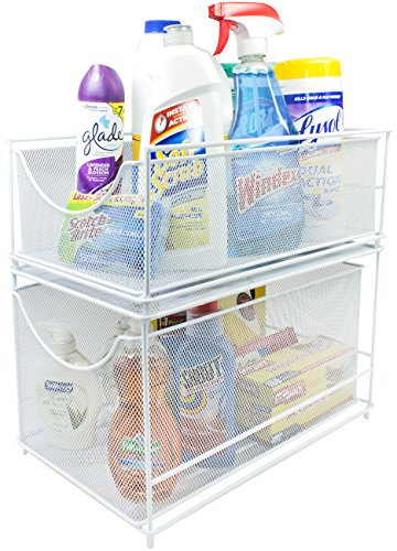 Sorbus Cabinet Organizer Set-Mesh Storage Organizer with Pull Out Drawers-Ideal for Countertop, Cabinet, Pantry, Under the Sink, Desktop and More (White Two-Piece Set)