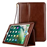 New IPad 9.7 Inch 2018/2017 Case,Vacio PU Leather Case Tablet Smart Stand Case Slim Fit Cover with Card Slot and Hand Strap for iPad air/ air 2/ Pro 9.7/2017 New iPad (Deep Brown)