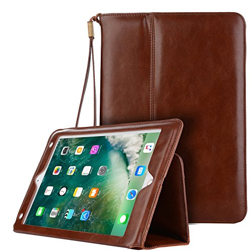 Price comparison product image 9.7'' Smart Case for iPad Air,PU Leather Case with Card Slot and Hand Strap Tablet Smart Case [Rugged Protective][well made] Slim Fit Cover for iPad Air/Air 2/iPad Pro 9.7/2017&2018 New iPad
