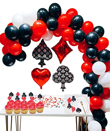 Casino Party Decoration Supplies Set: Casino Balloons,Black, Red,White Latex Balloon with Casino Confetti for Casino Theme Party,Las Vegas Themed Parties,Casino Night ,Poker Events -
