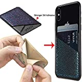 Card Holder Back Phone, Phone Card Holder Back Phone Pocket Ultra Slim Self Adhesive Stick-On ID Credit Card Wallet Cell Phone for iPhone/Galaxy/Android/All Smartphones (Black/Grey)