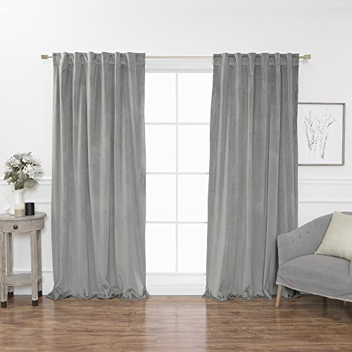 Best Home Fashion Luster Velvet Room Darkening Curtains - Back Tab/Rod Pocket - Grey - 52