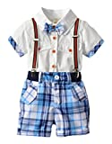 Kids Little Boys Gentleman Plaid Suit Bowtie Shirt Bid Short Overall Clothes Set