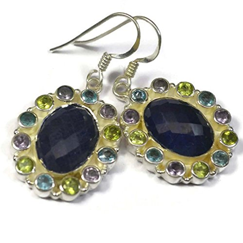 Crystal Craft India Multi Color Colored Multi Gemstone 925 Sterling Silver Earrings for (Multi Coloured Gemstone Earrings)