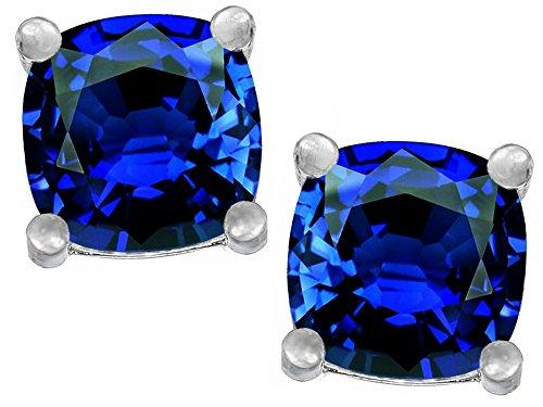 Star K Cushion Cut 7mm Created Sapphire Earrings Studs Sterling Silver