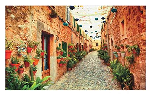 "Lunarable European Doormat, Spanish Alley with Rock Houses and Plants Latin Tourism Scene Mediterranean Print, Decorative Polyester Floor Mat with Non-Skid Backing, 30"" X 18"", Cream Green"
