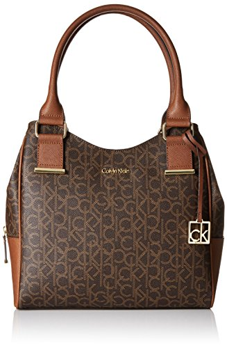 Calvin Klein Hudson Monogram Shopper, Brown/Khaki/Luggage Saffiano