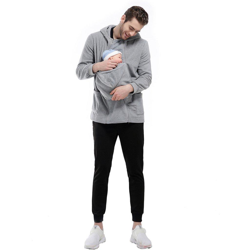 GWELL Papa Hommes Porte-bébé Kangaroo Pull Sweatshirt Sweat à Capuche  Manteau Veste Polaire Vêtement Hoodies ... 3a13d7c5254