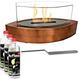 Sunnydaze Copper Barco Ventless Tabletop Bio Ethanol Fireplace with Fuel