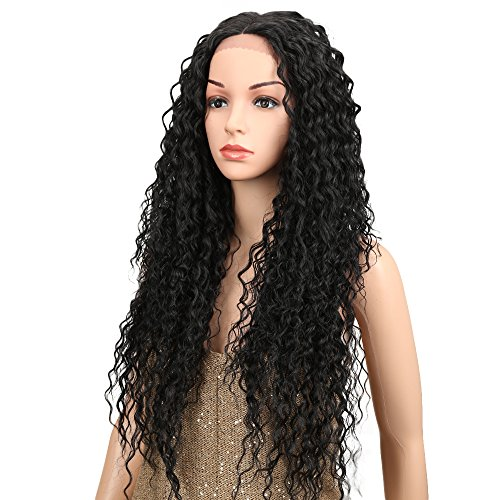 Joedir Lace Front Wigs 28'' Long Kinky Curly Synthetic Wigs For Black Women 130% Density Wigs(Black Color)