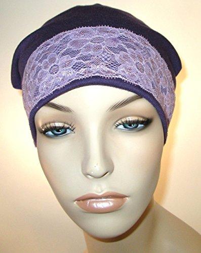 Lace Cap Purple Stretch Knit With Violet Lace Trim Fashion Chemo Hat Alopecia Head Cover Cancer (Violet Trim)