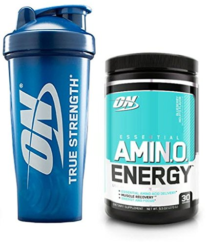 Optimum Nutrition Essential Amino Energy for Focus + Muscle Recovery | Blueberry Mojito Flavor 30 Serv + ON Logo Blender Bottle (28oz) ()