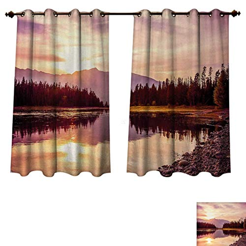 Anzhouqux Landscape Blackout Thermal Backed Curtains for Living Room Grand Teton Mountain Range at Sunset Jackson Lake Calm National Park USA Window Curtain Fabric Peach Pale Yellow W72 x L84 inch