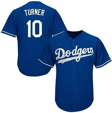 Turner Dodgers # 10 Jersey de béisbol de los Hombres Sudadera Bordada Camiseta de Manga Corta Uniforme del Equipo de competición Top Abotonado S-3XL: Amazon.es: Ropa y accesorios