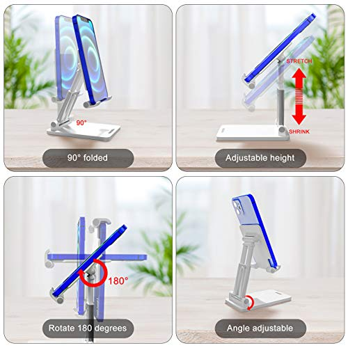 Adjustable Phone Stand, coonoe Foldable Cell Phone Holder for Desk Multi-Angle and Height Adjustable Universal Phone Dock Compatible with 4-9.7\