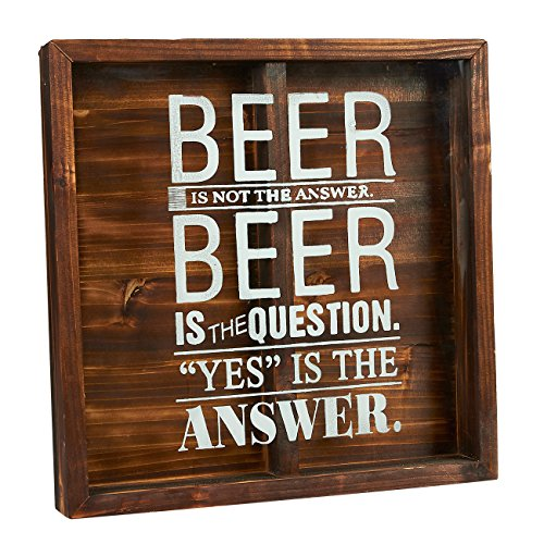 Beer Cap Holder - Wall-Mounted Decorative Wooden Shadow Box for Beer Bottle Cap Display - 12.6 x 12.6 x 1.77 Inches