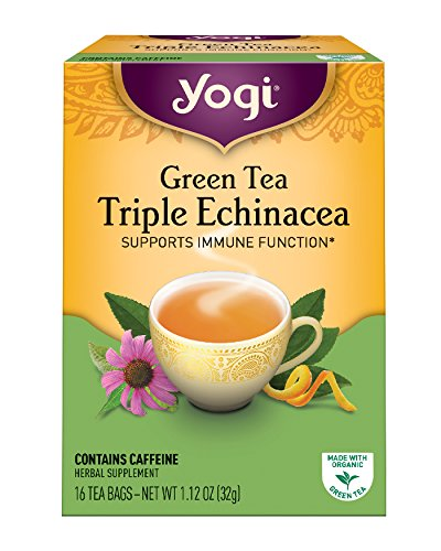 Yogi Tea, Triple Echinacea Green Tea, 16 Count (Pack of 6), Packaging May (Immune Support Green Tea)