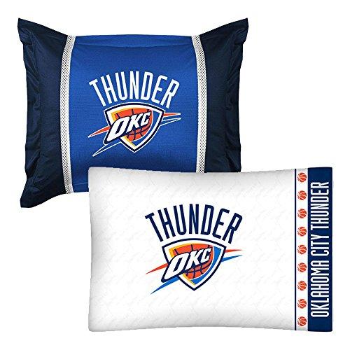 - 2pc NBA Oklahoma City Thunder Pillowcase and Pillow Sham Set Basketball Team Logo Bedding Accessories