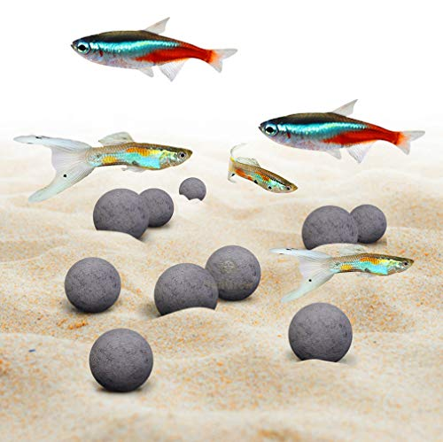 SunGrow Tropical Fish Mineral Stones - 30+ Minerals Strengthen Scales - Enhance Fish Color - Calcium-Rich Grey Pearls for Freshwater Tank - Optimal Nutrient Balance - Cool Décor with Health Benefits