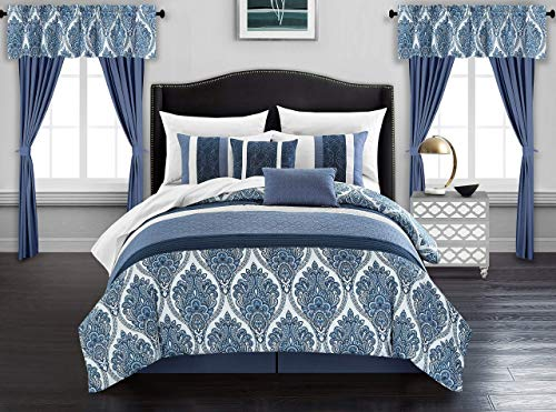 Chic Home Vivaldi 20 Piece Comforter Set Medallion Quilted Embroidered Design Complete Bag Bedding - Sheets Decorative Pillows Shams Window Treatments Curtains Included, Queen Blue (Renewed) (Sham Curtain)