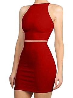 d82f5baf1b LAGSHIAN Women s Sexy 2 Piece Outfits Crop Top Skirt Set Bodycon Mini Club  Dress