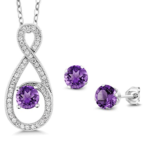 - 1.95 Ct Round Purple Amethyst 925 Sterling Silver Pendant Earrings Set