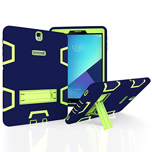 Samsung Galaxy Tab A 10.1 with S Pen Case, Beimu 3in1 Combo Hybrid Heavy Armor Full-Body Holster Rugged Defender Protective Kickstand Case for Samsung Tab A 10.1 with S Pen SM-P580/P585 (Navy+Green)