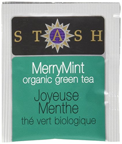 Stash Tea Organic Merry Mint Green Tea, 100 Count Box of Tea Bags in Foil (packaging may vary) (White Tea Christmas)
