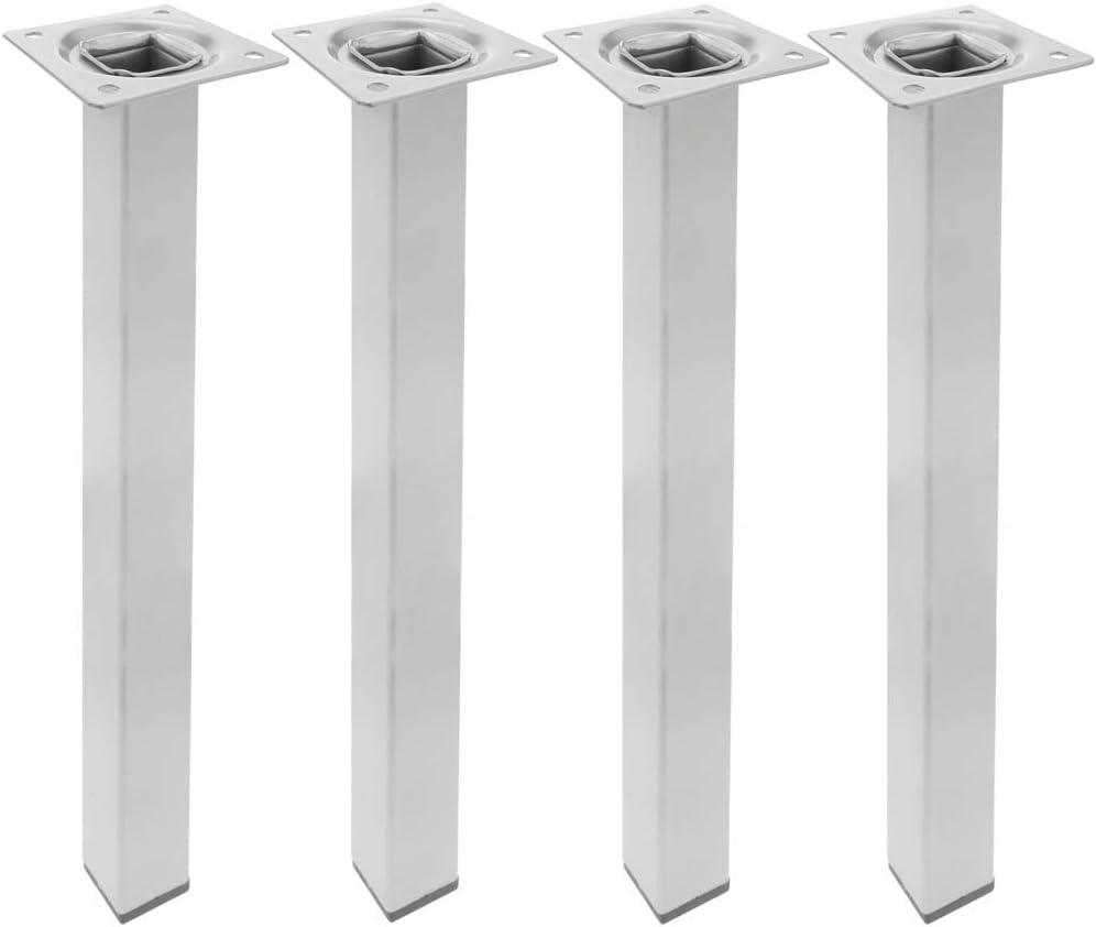 PrimeMatik - Pies Cuadrados para Mesa y Mueble. Patas en Acero Gris de 40cm 4-Pack