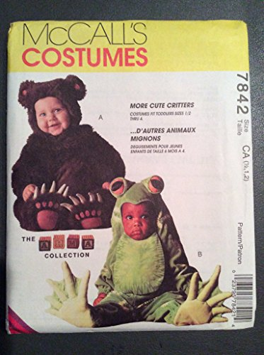 McCall's Costumes 7842 Bear and Frog size 1/2, 1 and 2 pattern -