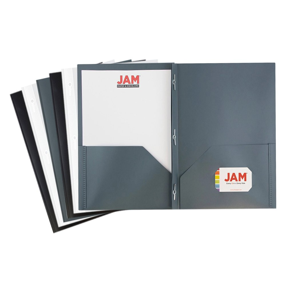 JAM PAPER Plastic 2 Pocket School POP Folders with Metal Prongs Fastener Clasps - Assorted Business Colors - 6/pack