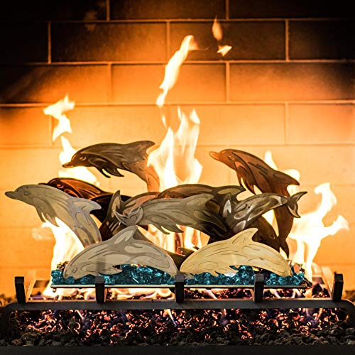 - Lakeview Outdoor Designs Fireplace Sculpture - Dolphin Seascape with Vented 24 Inch Natural Gas with H-Burner - Match Light w/Caribbean Blue Fire Glass