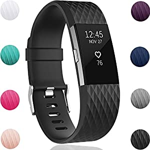 Geak Fitbit Charge 2 Bands, Special Edition Replacement Bands for Fitbit Charge2, Large Black