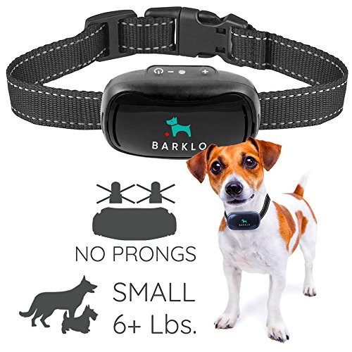 Dog Bark Muzzle - Small Dog Bark Collar For Tiny To Medium Dogs by BARKLO Rechargeable And Waterproof Vibrating Anti Bark Training Device - Smallest & Most Safe On Amazon - No Shock No Spiky Prongs! ( 6+ lbs ) (Black)