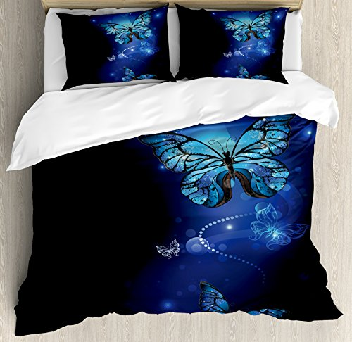 Dark Blue Duvet Cover Set King Size by Ambesonne, Fantasy Magical Butterflies Monarch Artistic Morpho Inspiration Animal, Decorative 3 Piece Bedding Set with 2 Pillow Shams, Cobalt Blue Black