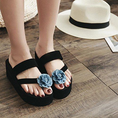 Sandali Moda scarpette Alla 6cm Donna flip tacco spesso Da Fiori Fondo Pantofole 38 Nero trentasei flop Le Ajunr Il spiaggia dzqId