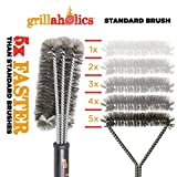 Grillaholics Grill Brush, #1 Barbecue Grilling Accessories, Grill Healthier BBQ on Gas or Charcoal Grills, Long Lasting Woven Stainless Steel Wire Bristles, Cleaner Cooking Grates Racks and Burners